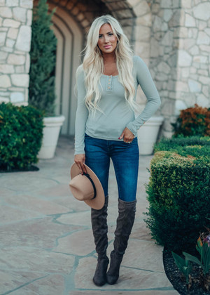 Soft Button Thermal Henley Tight Top Gray