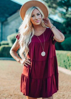 Scoop Neck Tiered Ruffle Dress Wine