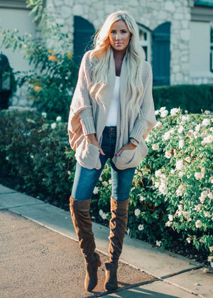 Laugh And Love Knit Dolman Cardigan Beige