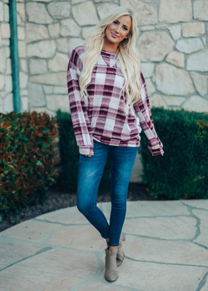 Dream Girl Plaid Pullover Top Burgundy