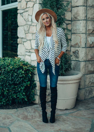 Feel The Heat Striped Cardigan White/Black