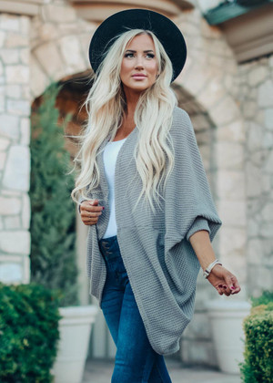 Cuddle Next To You Slouchy Cocoon Waffle Cardigan Taupe