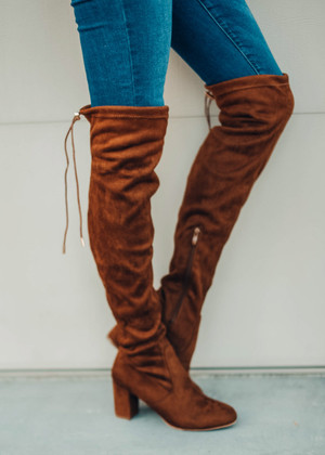 Keep On Walkin' Over The Knee Boot Camel