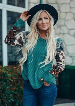 On The Lookout Waffle Knit Top Hunter Green