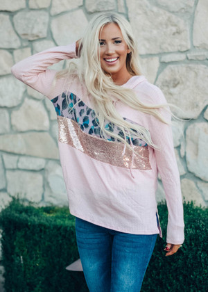 Everything Is Beautiful Leopard And Sequins Waffle Hoodie Blush