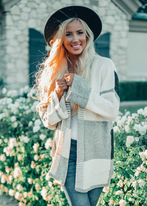 I've Been Looking For Love Color Block Cardigan White/Gray