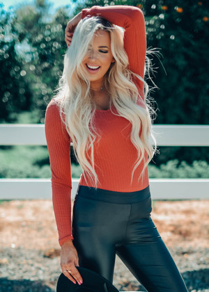 Double V-Neck Ribbed Long Sleeve Bodysuit Brick CLEARANCE