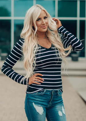 Must Have Striped V-Neck Layering Tunic Top Black CLEARANCE