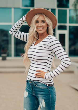 (Black Friday) Must Have Striped V-Neck Layering Tunic Top White