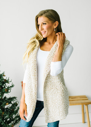 (Cyber Monday) Faux Fur Hooded Sherpa Vest Tan