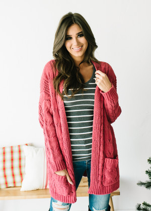 (Cyber Monday) Cable Knit Ribbed Open Cardigan Rust