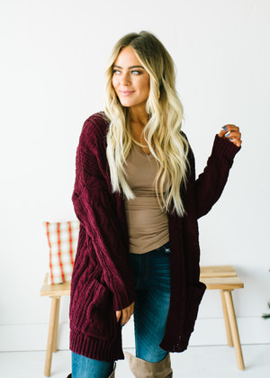 (Cyber Monday) Cable Knit Ribbed Open Cardigan Wine