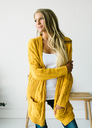 (Cyber Monday) Cable Knit Ribbed Open Cardigan Mustard