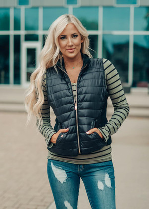 Ultra Light Weight Padded Puffer Vest Black CLEARANCE