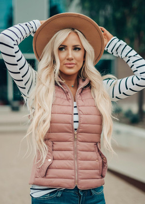 Ultra Light Weight Padded Puffer Vest Mauve CLEARANCE