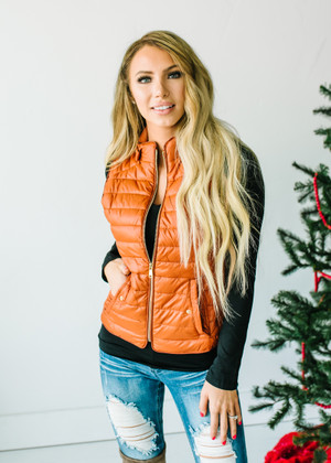 Ultra Light Weight Padded Puffer Vest Rust CLEARANCE