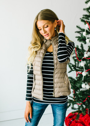 (Black Friday) Ultra Light Weight Padded Puffer Vest Taupe