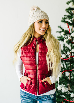 Ultra Light Weight Padded Puffer Vest Wine CLEARANCE
