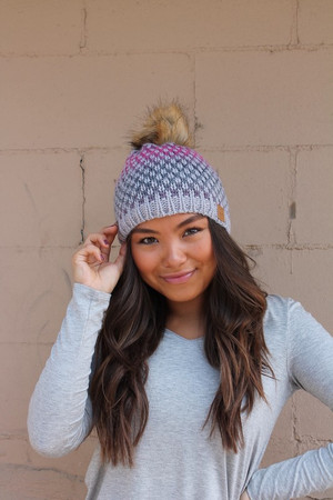 Pink and Navy Patterned Fleece Lined Knit Pom Pom Beanie Gray CLEARANCE