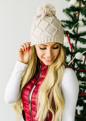 Diamond Shaped Fleece Knit Pom Pom Beanie Cream CLEARANCE