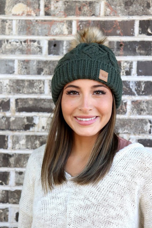 Cable Knit Braided Pom Pom Beanie Olive CLEARANCE