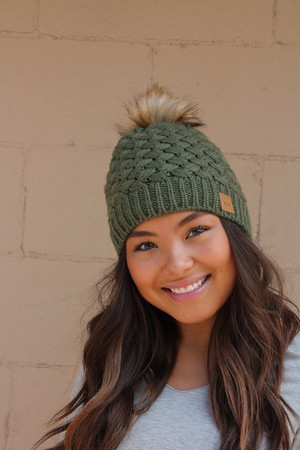 (Black Friday) Basket Weave Kit Pom Pom Beanie Olive