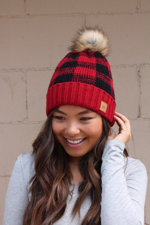 (Black Friday) Checkered Plaid Knit Pom Pom Beanie Red