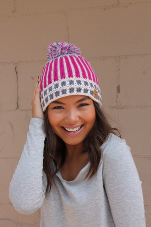 Pink Stripes and Gray Checkered Knit Pom Pom Beanie CLEARANCE