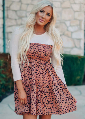 Give Me A Chance Smocked Tier Leopard Dress Brown CLEARANCE