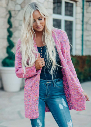 It's A Party Comfy Plush Popcorn Cardigan Pink