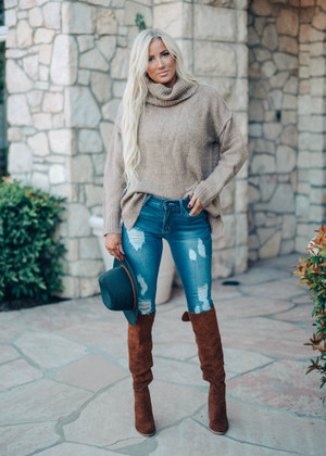 Tell Me Your Story Soft Oversized Turtle-Neck Top Mocha