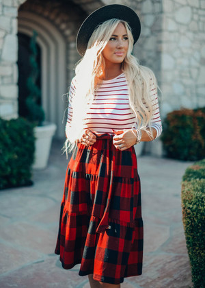 Christmas Dance Striped And Checkered Tie Midi Dress Wine