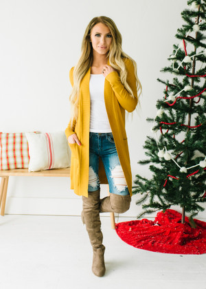 (Black Friday) Long and Soft Open Pocket Cardigan Mustard