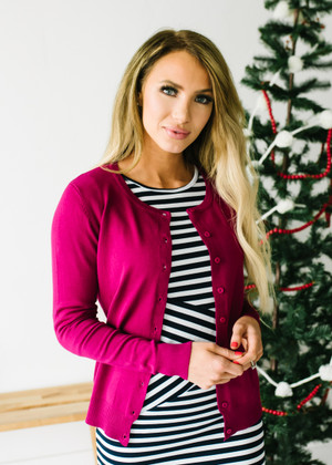 (Cyber Monday) All American Plain Basic Button Up Cardigan Magenta