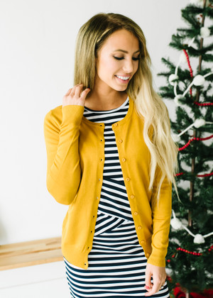 (Cyber Monday) All American Plain Basic Button Up Cardigan Mustard