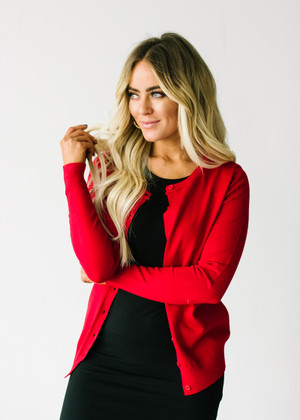 All American Plain Basic Button Up Cardigan Red CLEARANCE