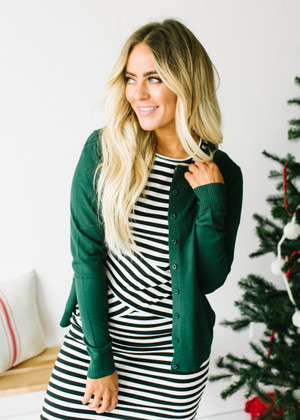 All American Plain Basic Button Up Cardigan Dark Green CLEARANCE