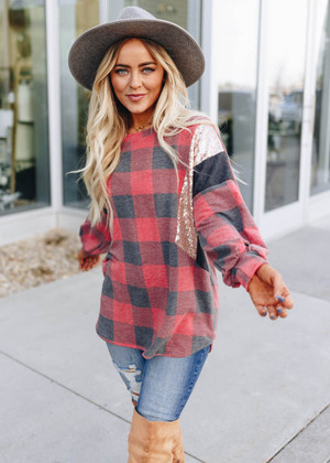 Don't Hesitate Checkered Sequins Top Red CLEARANCE