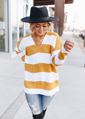 Come A Little Closer Loose Fit Striped Sweater Top Mustard