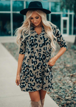 Keep Me In Line Leopard Dress Taupe CLEARANCE