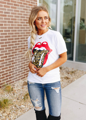 Red Lips and Leopard Tongue Tee White