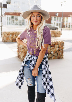All Things Fall Tee Plum