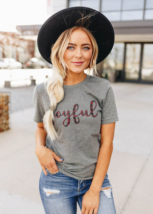 Checkered Plaid Joyful Tee Heather Gray