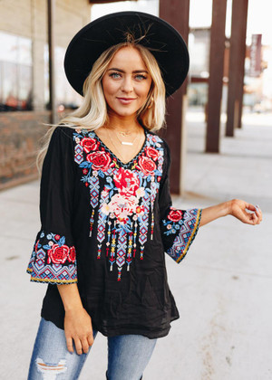 The True Relaxed Fit Embroidered Flowy Top Black CLEARANCE