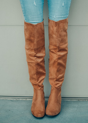 Take My Hand Tall Knee High Boots Tan