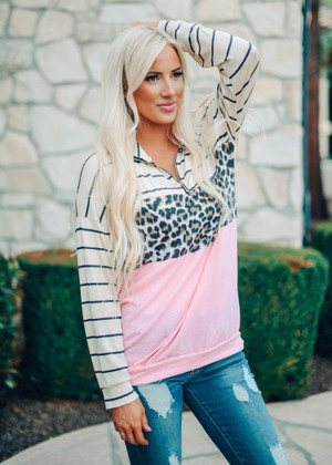 Mix and Match Leopard Striped Pullover Blush