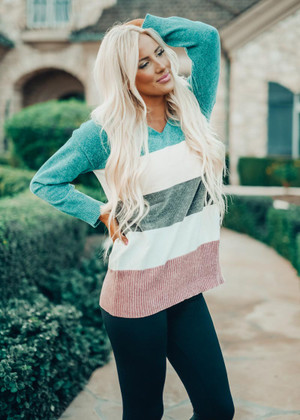 One Night Looking At You Colorblock Sweater Top Turquoise