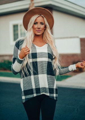I'm So Free Plaid Drop Shoulder Oversized Top Charcoal CLEARANCE