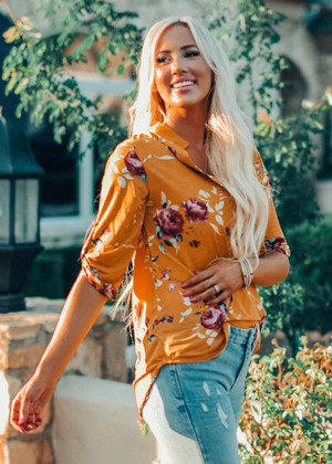 Who Am I Without You Floral Top Mustard CLEARANCE