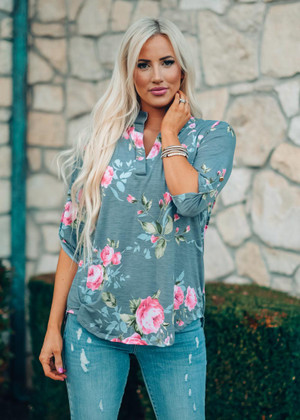 Who Am I Without You Floral Top Gray